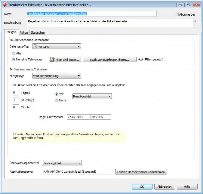 CAS Helpdesk Regelkonfiguration